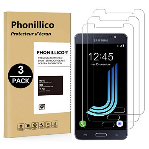 puissant PHONILLICO [Pack de 3] Verre Trempé pour Samsung Galaxy J5 2016 SM-J510 – Protecteur d'écran…