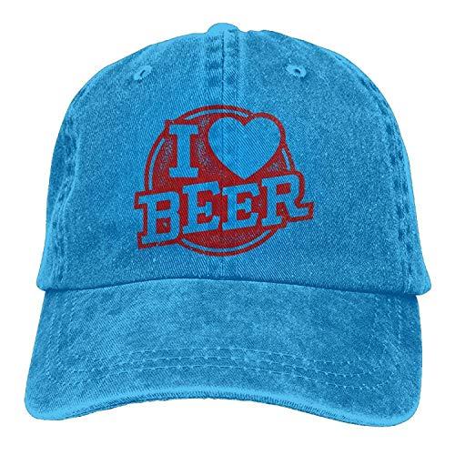 Voxpkrs Ich Liebe Bier Stempel Garn gefärbt Denim Baseball Cap einstellbare Jagd Cap für Männer oder Frauen DV2304
