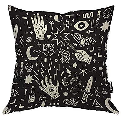 Moslion Throw Pillow Cover Witchcraft 18x18 Inch Magical Style Hand Eyes Moon Skull Cat Bat Snake Key Square Pillow Case Cushion Cover for Home Car Decorative Cotton Linen