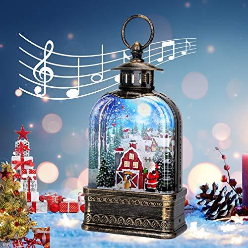 CaiFang Christmas Snow Globe Lantern with Warm White LED Light, Red Christmas Water Globe Lantern, Church Shape Glitter Snowflake Water Lantern Christmas Home Decorations
