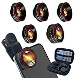 Phone Camera Lens,Clip on Cell Phone Lens kit 5 in 1, 235° Fisheye Lens + 25X Macro Lens + 0.62X Super Wide Angle Lens,Starlight+Kaleidoscope,for Most iPhone Android Phones and Smartphones