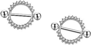 HuayoRong 2Pcs 14g Nipple Rings Stainless Steel Rhinestone Round Circle Piercing Body Jewelry(Bar Length24mm)