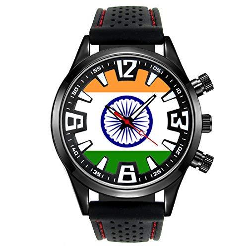 Timest - Indien Länder Flaggen Herrenuhr mit Silikonarmband in schwarz Rund Analog Quarz SF103CC