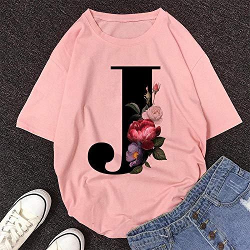 T-Shirt Femme Alphabet Anglais Imprimer Tshirt Vogue Casual Rose Tops T-Shirt Femmes Été Couples Amoureux Femme T-Shirt M 10633-Rose