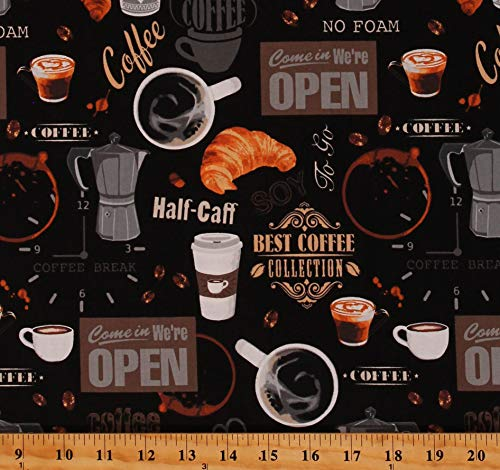 Cotton Coffee Shop Restaurants Eatery Mugs Coffee Grinder Food Beverages Coffee Beans Half-Caff Best Coffee Barista Cafe Latte Black Cotton Fabric Print by The Yard (D569.63)