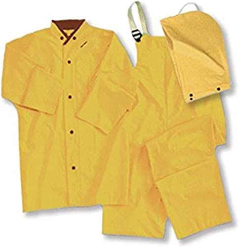 ERB 14351 Safety 4035 Non-ANSI Rain Suit Coveralls (3 Piece), Large, Yellow
