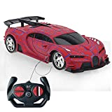 Kikioo 2.4GHZ Bugatti Veyron Simulation Remote Control Cars for Kids 1:24 Scale Model LED Lights Four-Wheel Drive Drifting Electric Radio Controlled Racing Car Sports RC Toys Boys Girls Gifts (Red)
