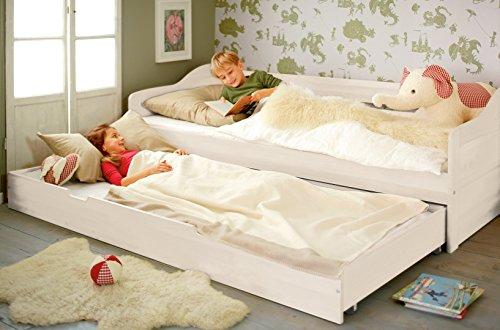 BioKinder 23904 Nico-slaapbank wit gelakt grenen met bedbodem en lattenbodem 90x200 cm