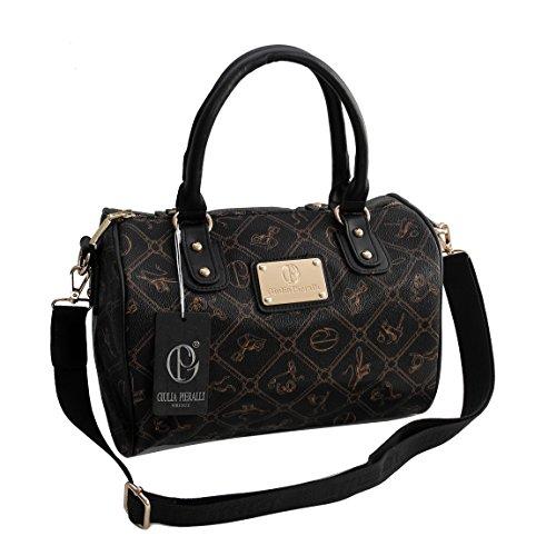 Giulia Pieralli Damen GlamourHandtasche Damentasche Tasche Henkeltasche Bowling Tasche-präsentiert von ZMOKA® in versch. Farben (Schwarz)