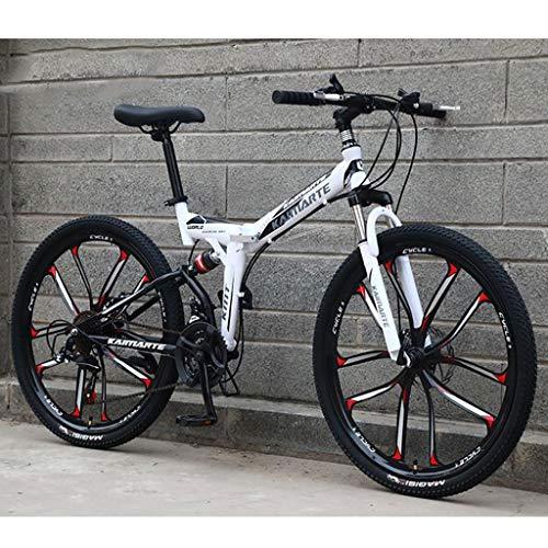 WGYDREAM Mountainbike Bici Bicicletta MTB Mountain Bike, 26 inch Unisex Pieghevole Mountain Biciclette Telaio Leggero in Acciaio al Carbonio 21/24/27 Costi Full Suspension MTB Mountain Bike