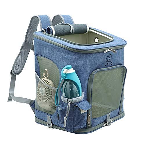 PETVE huisdierreisrugzak + fan + waterkoker, katten- en hondendraagtas, ventilatie en ademend, grote capaciteit, handtas voor huisdieren, inklapbaar vervoer in de buitenlucht