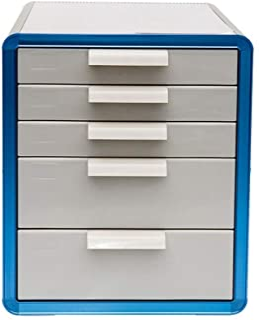 KANJJ-YU Armoire de bureau à 5 tiroirs - Organiseur de bureau - Pour répondre aux besoins quotidiens - Couleur : bleu - Di...