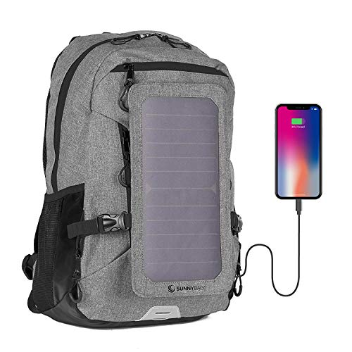 Sunnybag EXPLORER+ solar backpack charger | World's strongest water resistant solar panel for smartphones and all USB-devices on the go | 15L volume and 15'' laptop compartment | Gray/Black
