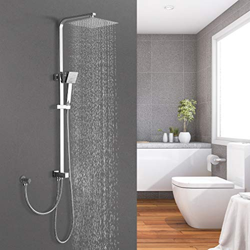BONADE Regendusche ohne Armatur Duschsystem mit Handbrause Duschkopf eckig aus 304 Edelstahl Höhenverstellbare Duschstange Duschsäule für Badezimmer