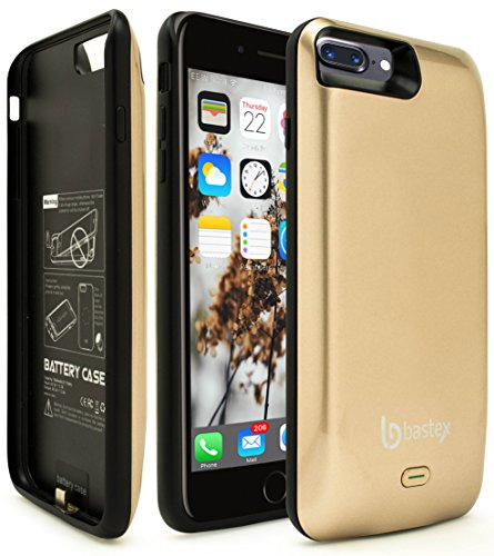 iPhone 7 Plus Battery Charging Case, Bastex Slim Fit Gold Hard Plastic Rechargeable High Capacity Battery Charger, 5200mAh, Durable Rugged Protective Case Cover for Apple iPhone 7 Plus