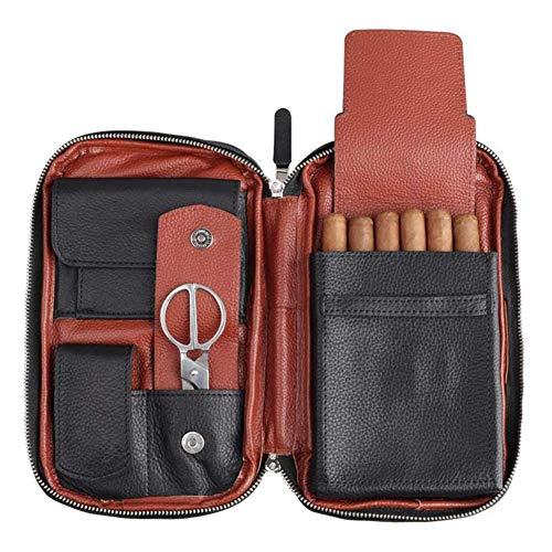 QLIGHA Portasigari Portatile con Fondina per sigari a Compressione in lamiera di Acciaio incorporata, Set da Viaggio in Pelle Multifunzione