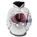 SQDWYA Sudadera con Capucha 3D, Big Mouth Shark Fashion Loose Top Digital Print Hooded-3Xl