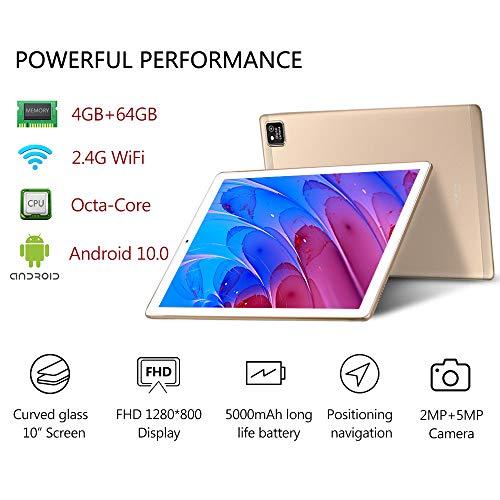 YOTOPT Tablet 10 Zoll Android 10.0 mit Tastatur und Maus, Octa-Core, 64 GB ROM, 4 GB RAM, 4G Dual-SIM, WLAN/GPS/Bluetooth/Typ C, Farbe: (Gold)