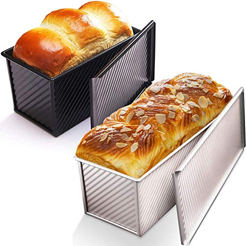 CHEFMADE Loaf Pan with Lid, Non-Stick Bakeware Carbon Steel Bread Toast Mold with Cover for Baking Bread