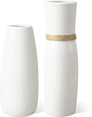 MoonLa White Ceramic Vases Flower Vase with differing Unique Rope Design for Home Décor – Set of 2