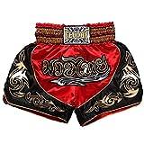FLUORY Short Muay Thai,Haute Qualité Short Boxe Thaï Short MMA Kick Boxing pour Femme Homme Enfant Compétition D'entraînement de Combat,L,1MTSF12-Rouge