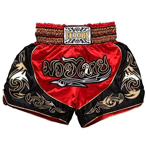 FLUORY Short Muay Thai,Haute Qualité Short Boxe Thaï Short MMA Kick Boxing pour Femme Homme Enfant Compétition D'entraînement de Combat,3XL,1MTSF12-Rouge