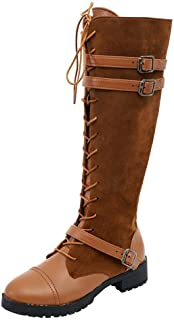 Women Ladies Shoes Flock Roman Riding Knee High Cowboy Boots Martin Long Boots (Color : Yellow, Size : 7 UK)