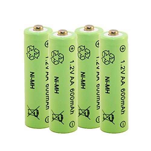 Akku aufladbare Batterie Ni-MH NiMH AA Mignon 1,2 Volt 600mAh Solar 4 STÜCK