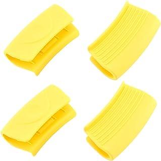 Hemoton Soporte de Mango Caliente de Silicona de 4 Piezas Manga de Mango de Olla Resistente Al Calor para Sartenes Utensilios de Cocina Maneja Planchas Amarillas