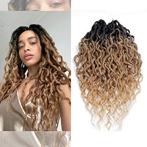 Goddess Faux Locs Crochet Braid Hair Bohemian Locs 24 Inches Synthetic Dreads Ombre Braiding Hair Afro Dreadlock (24', 1b/27)