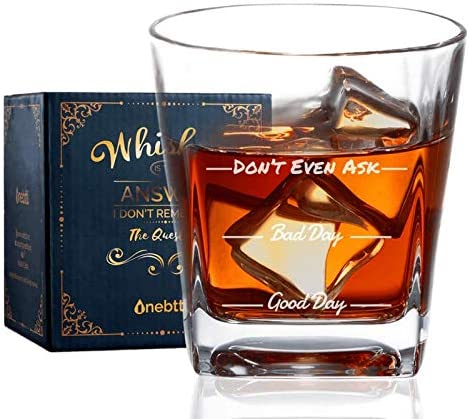 Whiskey Very NEW before selling ☆ popular Glass Good day bad Old Fashioned Tumbler Ro