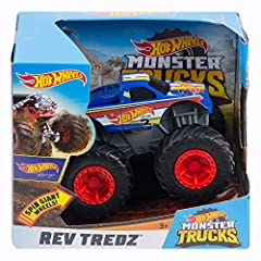 Outrageous assortment of 1: 43 scale Hot Wheels Monster trucks with a flywheel motor giant wheels Rev Tredz send the dirt flying for crashing, smashing and competing with kid-favorite personalities that bring their stories to life! Packed out with aw...