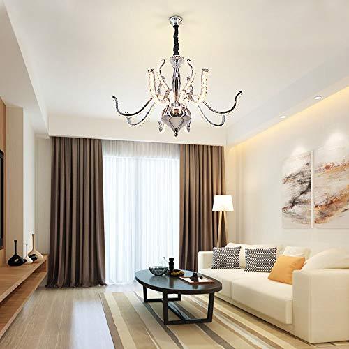 Warm huis Aluminium LED Kaars Kristallen Kroonluchter Creatieve Minimalistische Moderne Stijl Slaapkamer Woonkamer Kroonluchter Restaurant Kroonluchter LED (L60 * W60 * H100CM) Leuke