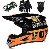 Casco Motocross Niño, Cascos Integrales set con Guantes/Gafas/Máscara, DTC & ECE Certificación, Cascos Cross Moto para BMX Bicicleta Dirt Bike MTB ATV Offroad DH - con Diseño FOX, Naranja Negro