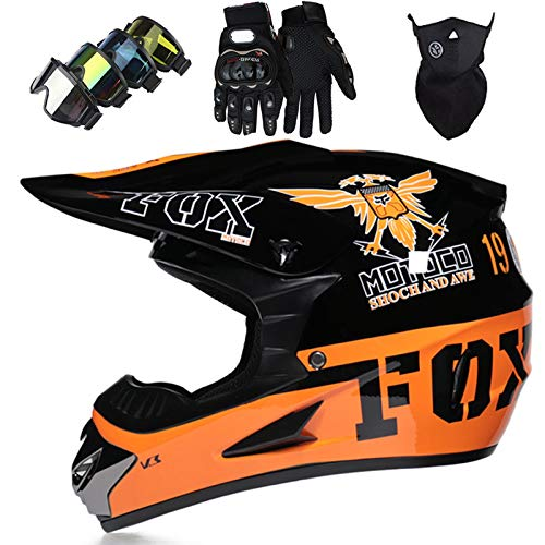 Casco Motocross Niño, DTC & ECE Certificación Casco Downhill moto para Adultos Cascos Cross Dirt Bike Set para Bikes BMX...