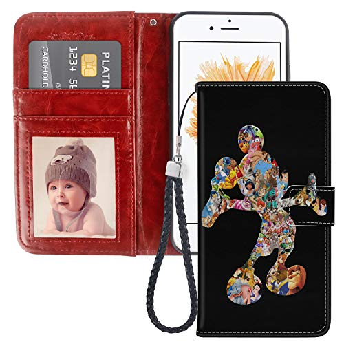 DISNEY COLLECTION Colorful Mickey Wallet Case for iPhone 5C with Kickstand Card Holder and Wrist Strap Folio Flip Wallet Case