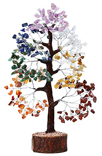 FASHIONZAADI Seven Chakra Gemstone Crystal Tree - Feng Shui Bonsai Money Natural Healing Crystals Chakras Reiki Stones Good Luck Home Decoration Gift Office Décor Size 10-12 Inch (Silver Wire)