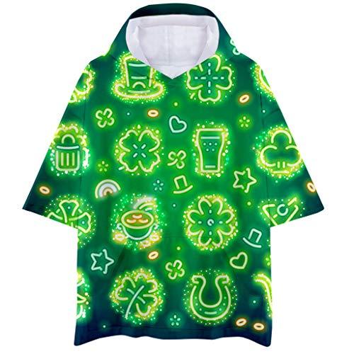 Cuteelf Karnevalsparty Fancy Festival Zubehör,Herren Frühjahr Sommer Neu Irisch St. Patrick's Day 3D Kurzarm Kapuzen T-Shirt Sweatshirt Irland Frühling und Sommer Top Bluse Hoodie