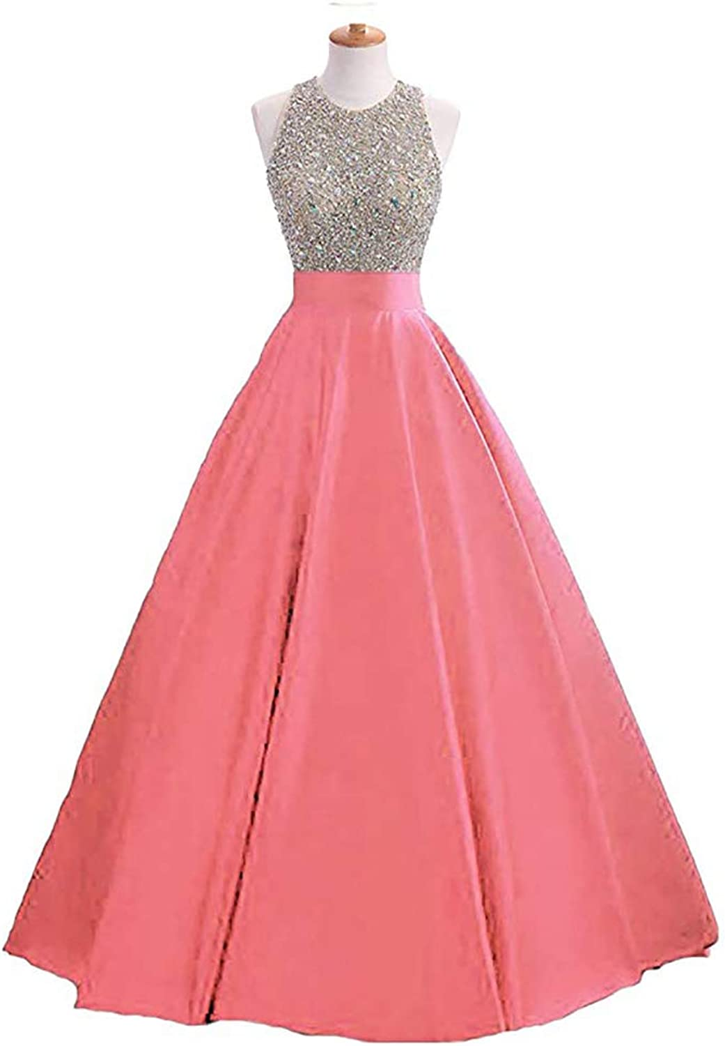ANFF Women's Sequins Ball Gown Prom Dresses Long 2019 Beaded Formal Evening Dresses with Pockets
