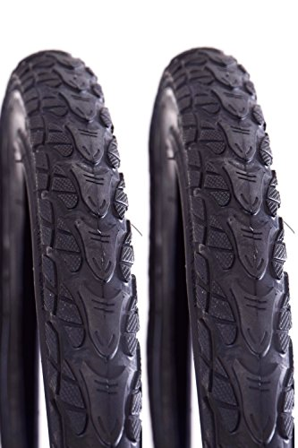 Ridge Trax 24' x 2.0 Junior Kids Urban Bike Tyre Reflective Sidewall Black Semi Slick Black (Two Tyres)