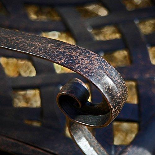 Lazy Susan – GRACE Gartenbank und CLAIRE Rechteckiger Garten Beistelltisch – Gartenmöbel Set aus Metall, Antik Bronze (Blaues Kissen) - 2