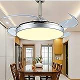Qinmo Luces de ventilador de techo, ultra-delgado invisible luz del ventilador de 42 pulgadas con control remoto Control de dormitorio Salón Comedor Sala de techo ventilador de la lámpara Led invisibl