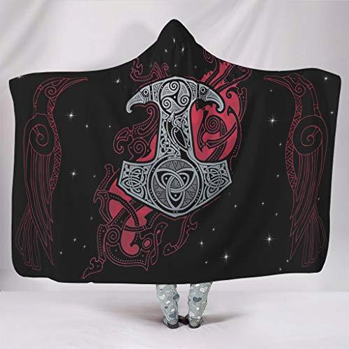 STELULI Sudaderas con capucha Viking Hammer Cozy Retro Indian Sudadera, bata con capucha – Se adapta a la vida diaria para adolescentes regalo blanco 60 x 80 pulgadas