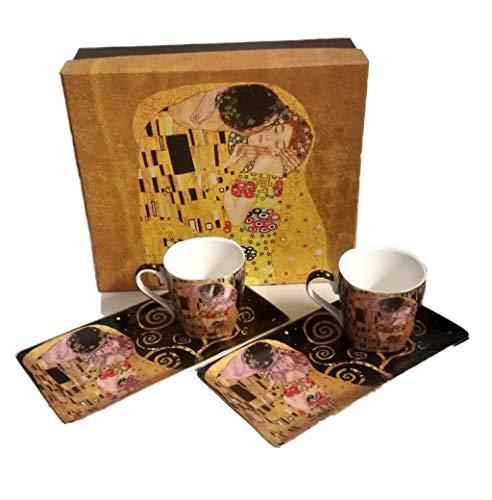 Atelier Harmony Gustav Klimt - Juego de café (4 piezas), diseño de El beso