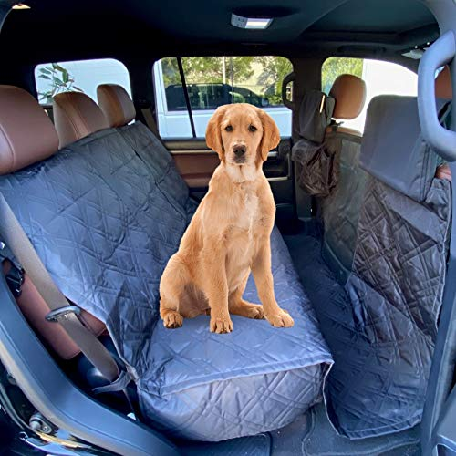 "Deluxe Quilted and Padded Dog Pet Car Back Seat Cover with Comforting Fabric, Non-Slip Backing Best for Full Size Truck Crew Cab, Large SUV - Travel With Your Pet Mess Free - EXTRA WIDE 62""x94"", BLACK"