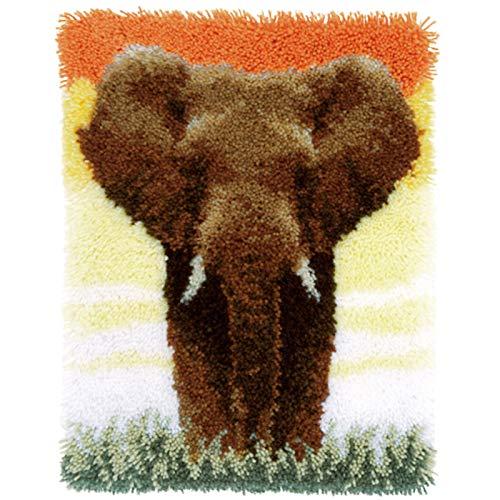 Elefant Knüpf-Sets Teppich Zum Selber Knüpfen Unvollendet Tapisserie Set Knüpfen Set Kreuzstich Set Knüpfteppich Für Kinder Und Erwachsene DIY Handwerk Geschenk Für Freund 52Cm X 38Cm