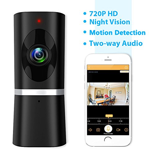 Wireless Security Camera, WiFi IP Indoor Home Baby Pet Surveillance Camera Monitor 720P HD Motion Detection 2-Way Audio Night Vision 180 Wide Angle Fisheye P2P Remote View IR Camera Panoramic