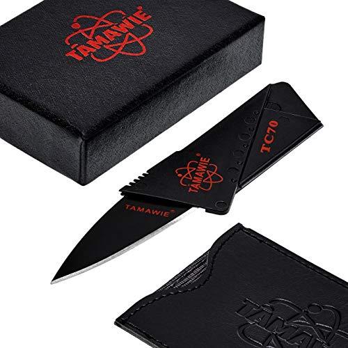 Tamawie® TC70 Kreditkarten Mini Karten Faltbar Messer für Geldbeutel - Sammler kleines Scheckkarten Faltmesser für Geldbörse im Kreditkarten EC Karten Visitenkarten Format - Credit Card Knife