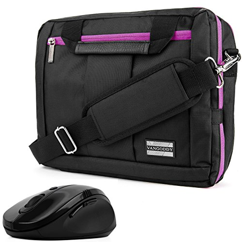 Purple 10 to 12 inch Convertible Laptop Bag with Mouse for HP ChromeBook, Elite x2, Pavilion x2, Stream 11, Spectre x2