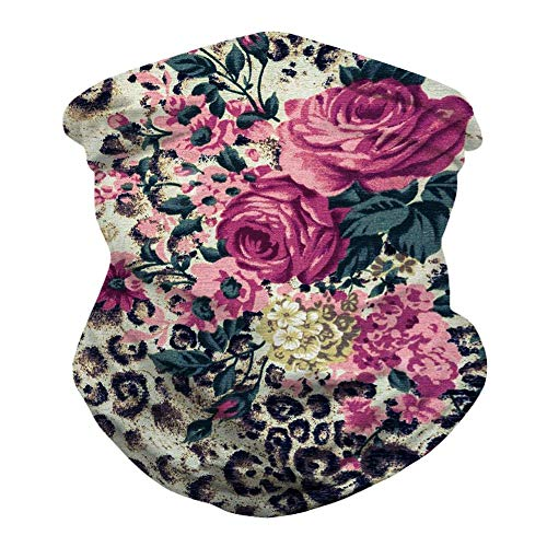 Unisex Leopard Floral Print Bandanas Balaclava Tie Dye Rave Sport Casual Headwear Multifunctional Seamless Neck Gaiter Summer UV Protection Tube Headwrap Women Men Face Scarf for Dust, Wind, Outdoor